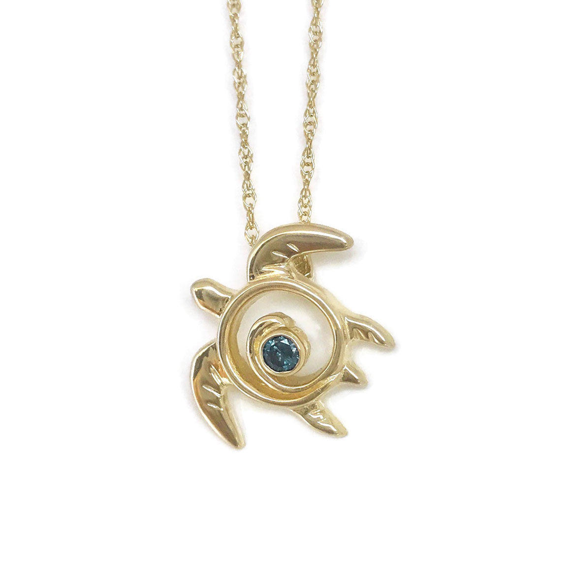 Gold Turtle Necklace with Blue Diamond