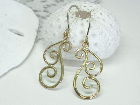 Hammered Small Swirl Dangle Earrings 14kt Gold