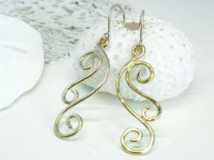 Golden Waves Dangle Earrings 14kt Gold