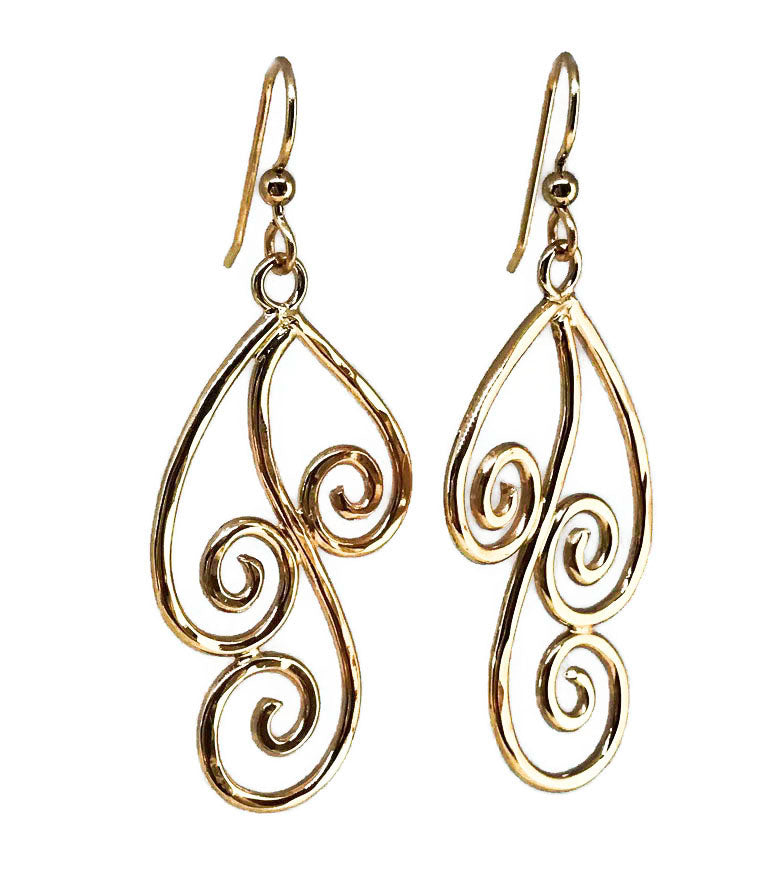 Gold Swirl Dangle Earrings