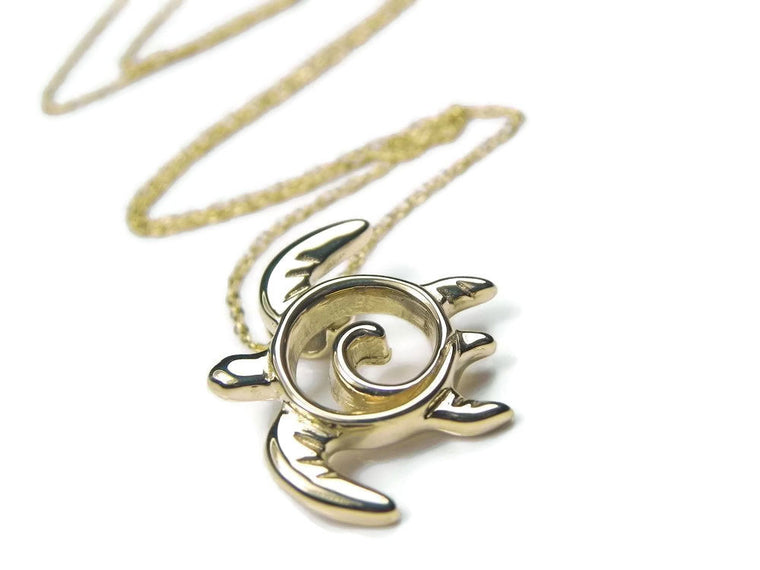Gold Swirl Turtle Totem Pendant/ Necklace