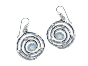 Eye of the Storm Earrings Moonstone Sterling Silver