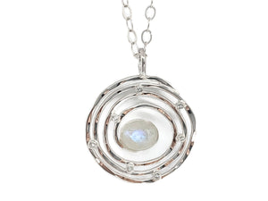 Eye of the Storm Moonstone Silver Pendant Large