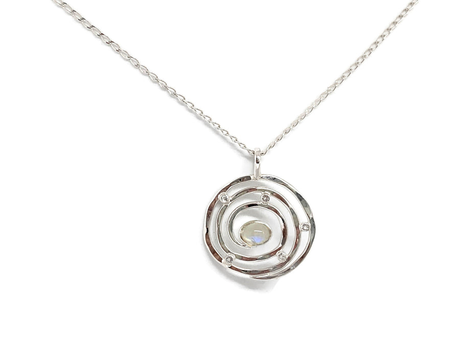 Eye of the Storm Moonstone Silver Pendant Small