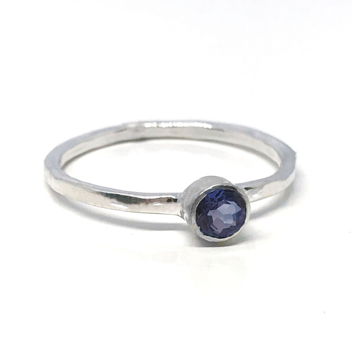 Iolite Minimalist Solitaire Ring Sterling Silver