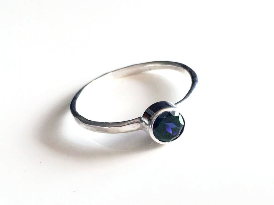 Iolite Solitaire Ring Sterling Silver