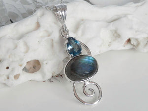 Labradorite Pendant Oval with Pear London Blue Topaz