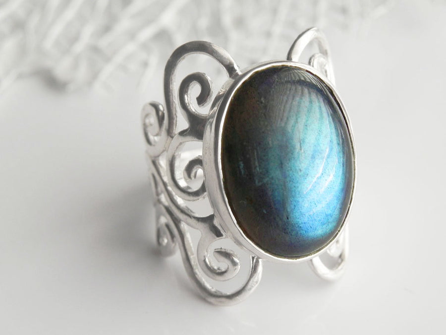 Labradorite Swirl Statement Ring Sterling Silver