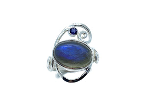 Labradorite Silver Swirl Ring with Iolite
