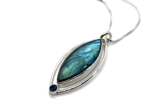 Labradorite Pendant Marquise Shape with Blue Topaz