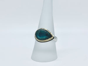 Labradorite Ring Side Set Pear Shape Gold and Silver