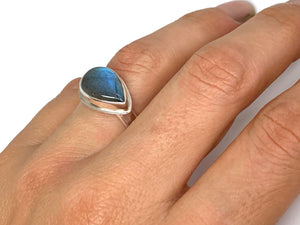 Labradorite Side Set Pear Ring Silver