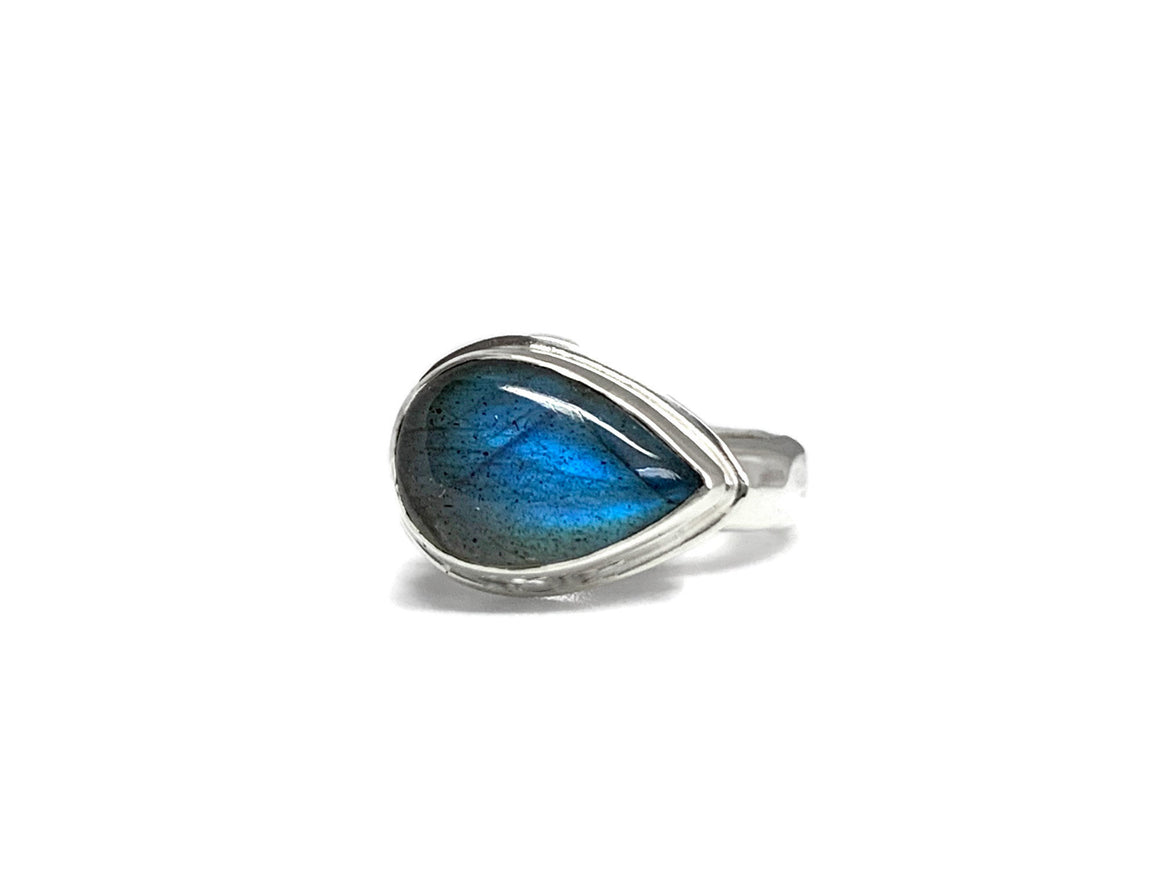 Labradorite Side Set Pear Ring Silver Size 7-1/2