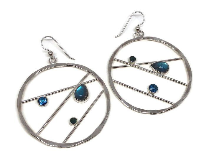 Labradorite Earrings with Sapphire and London Blue Topaz