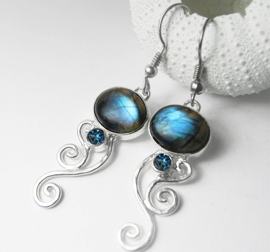 Labradorite and London Blue Topaz Silver Swirl Earrings