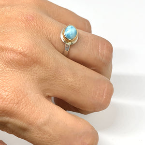 Larimar Oval Ring Two Tone Solitaire