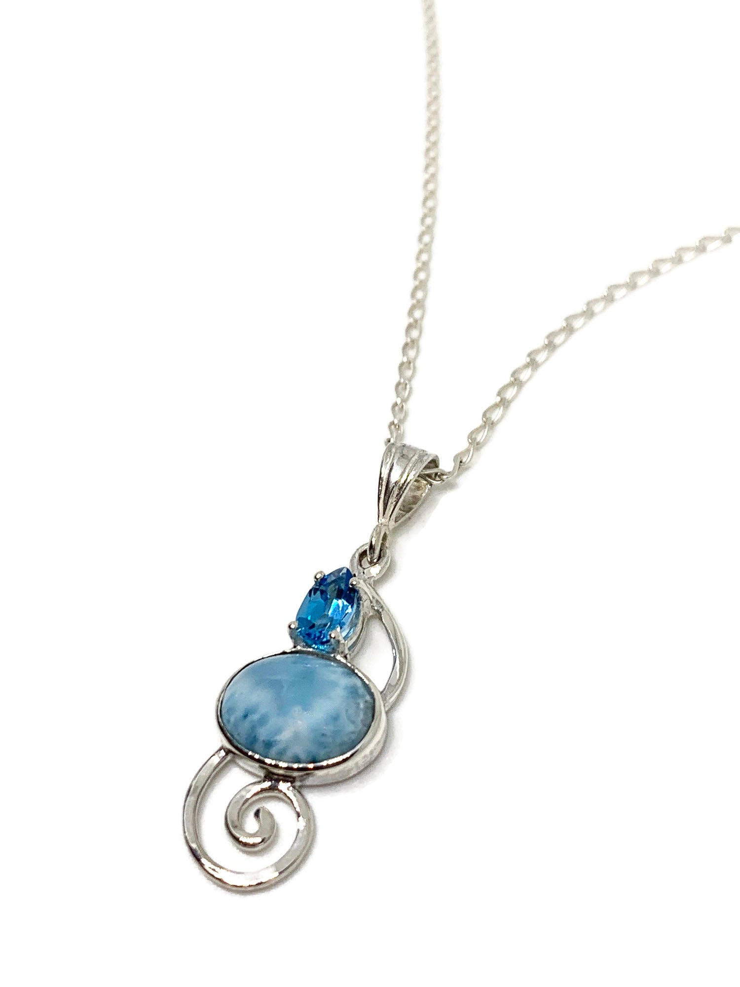 Larimar Oval Pendant with Pear Blue Topaz