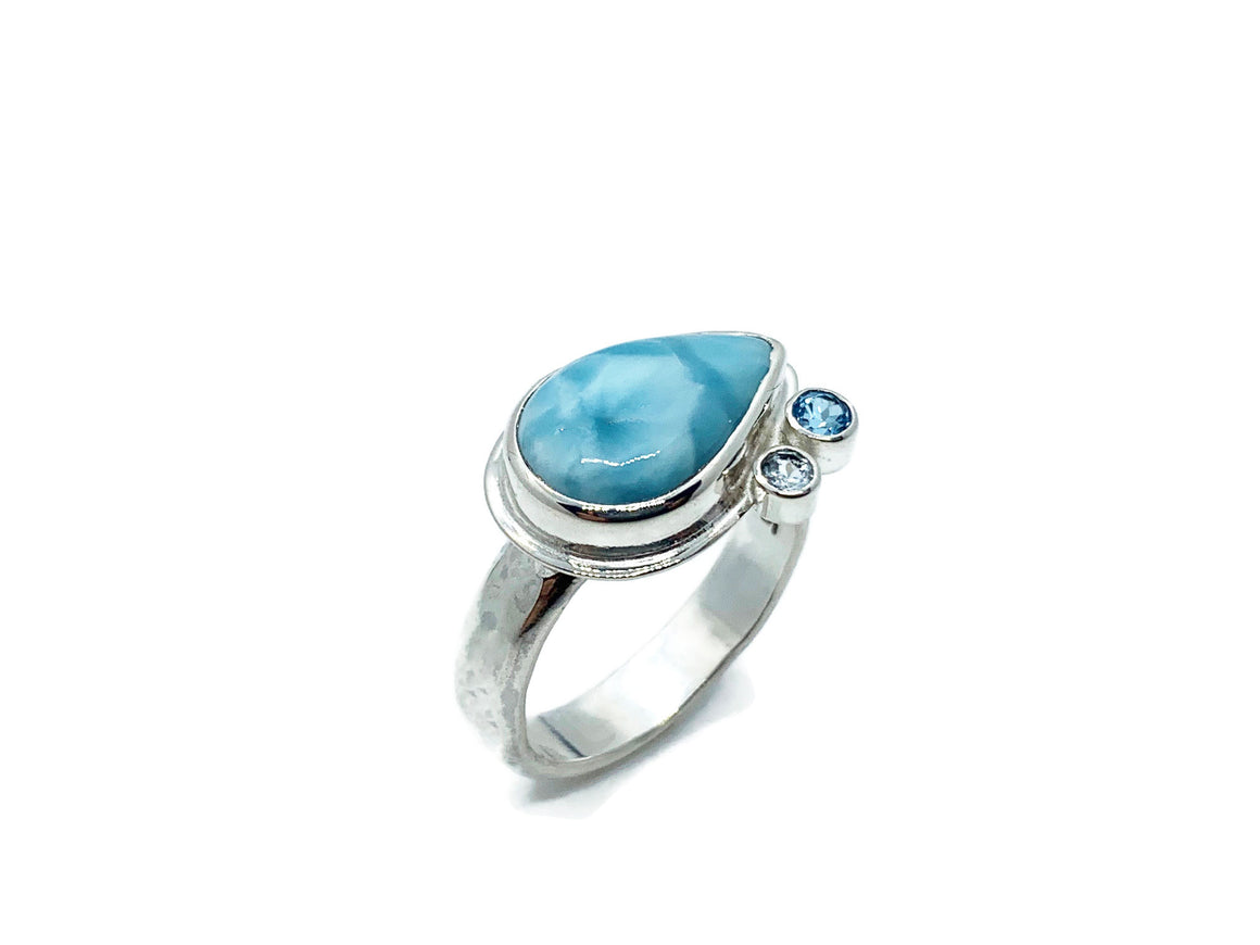 Side Set Larimar Pear Ring with Blue Topaz Size 8-1/2