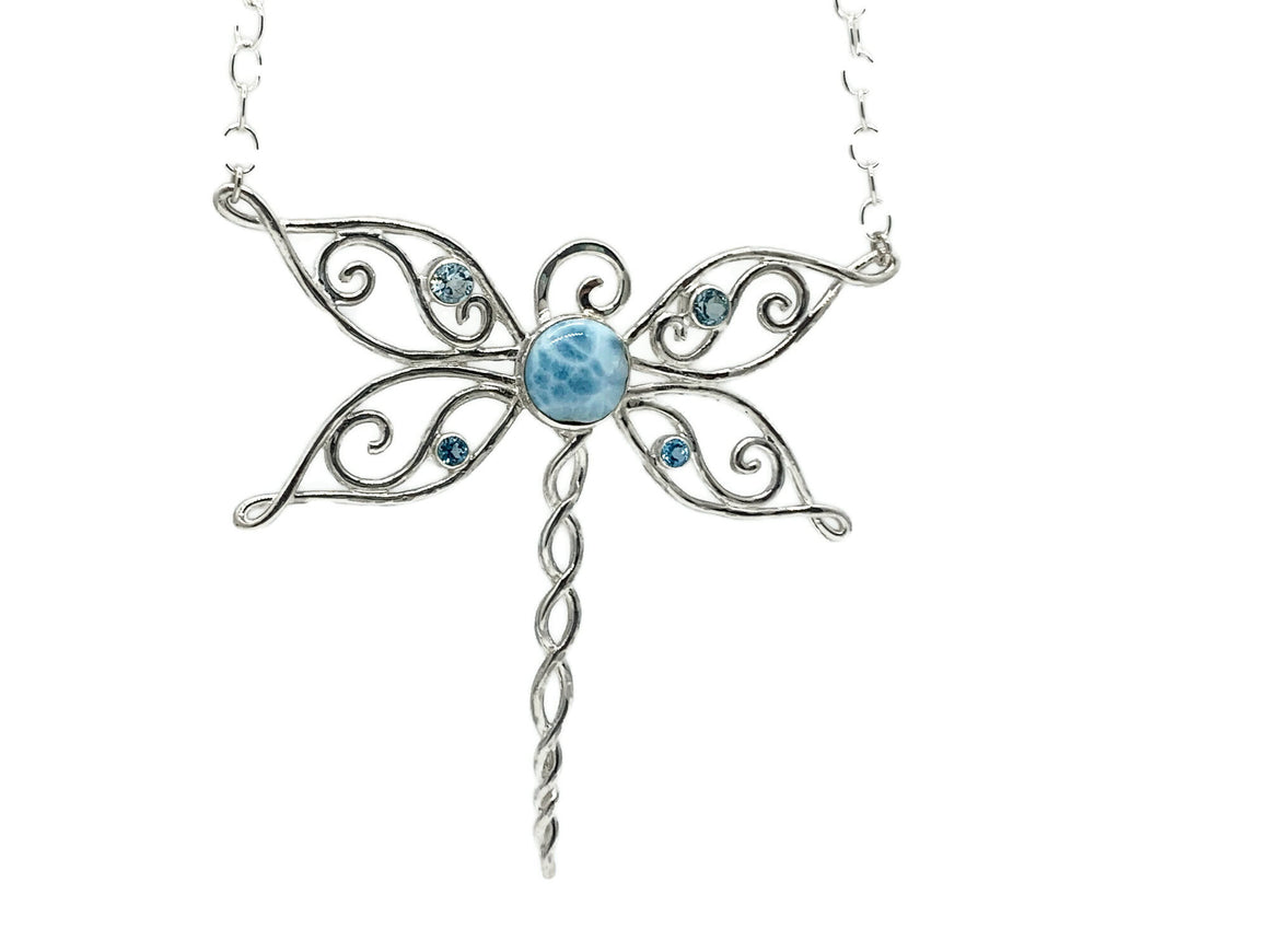 Dragonfly Necklace with Larimar and Blue Topaz