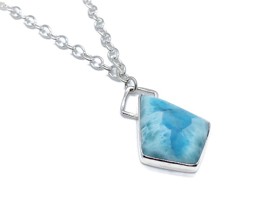 Larimar Silver Necklace with Geometric Accent