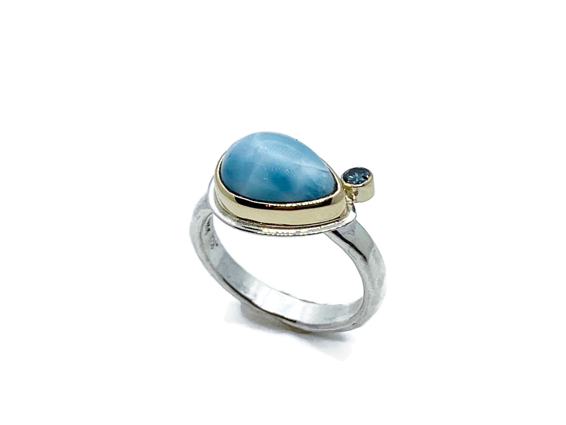 Larimar and Blue Diamond Ring Size 7-1/4