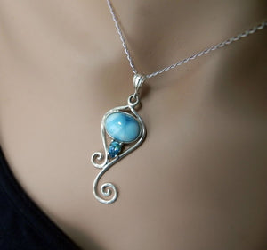 Caribbean Larimar Mermaid's Tail Pendant with Blue Topaz