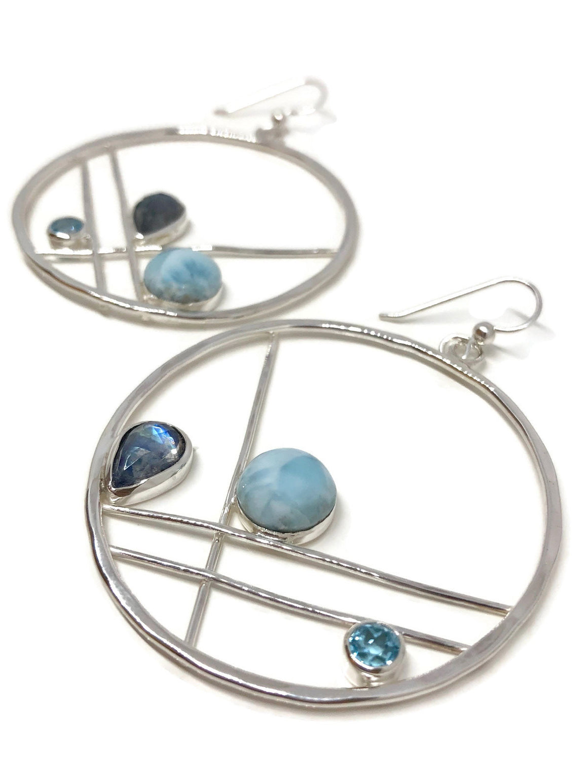 Larimar Earrings Sterling Silver with Moonstone and Topaz