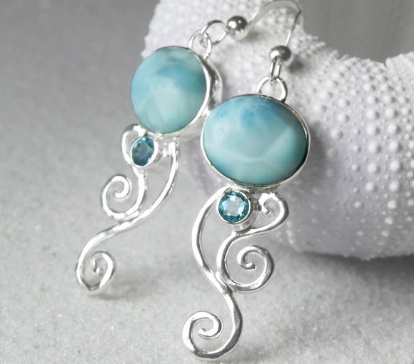 Caribbean Larimar Blue Topaz Silver Swirl Earrings