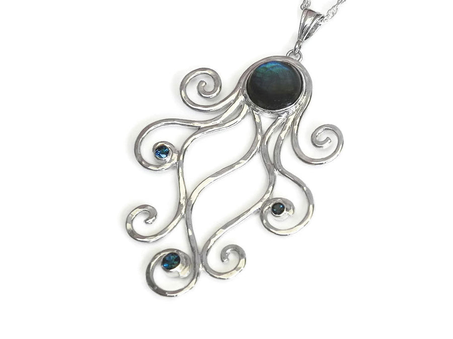Labradorite Octopus Necklace with London Blue Topaz