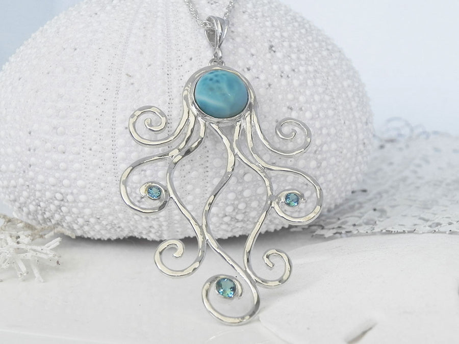 Caribbean Larimar and Blue Topaz Octopus Pendant Sterling Silver
