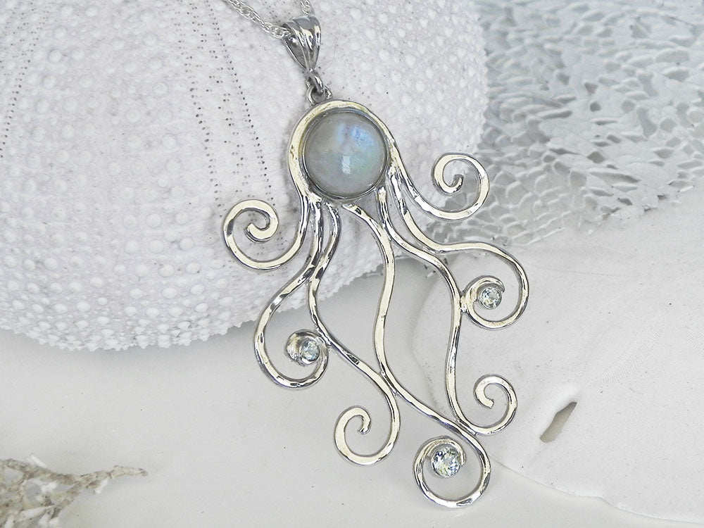 Rainbow moonstone and blue topaz octopus pendant sterling silver rainbow moonstone and blue topaz octopus pendant sterling silver mozeypictures Choice Image