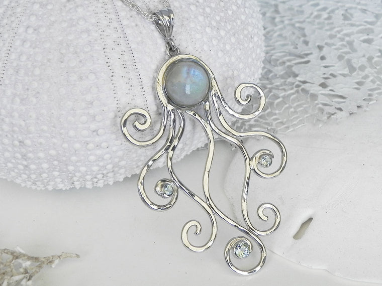 Rainbow Moonstone and Blue Topaz Octopus Pendant Sterling Silver