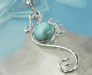 Larimar and Blue Topaz Seahorse Silver Pendant