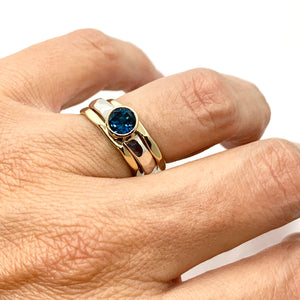 London Blue Topaz Stack Ring Set Silver and Gold