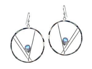 Moonstone Earrings Silver Hammered Hoops
