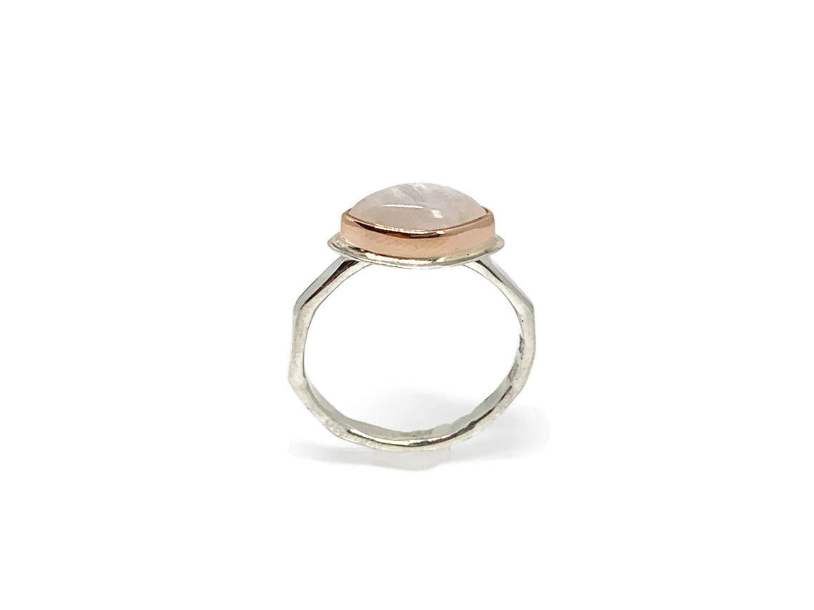Moonstone Marquise Ring Rose Gold and Silver