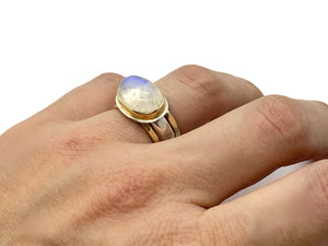 Oval Moonstone Ring Silver and Gold Stack Set Size 7