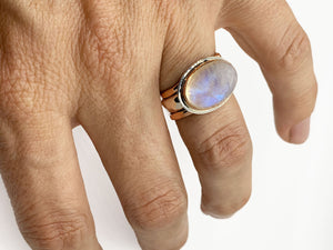 Moonstone Rose Gold and Silver Stack Ring Set