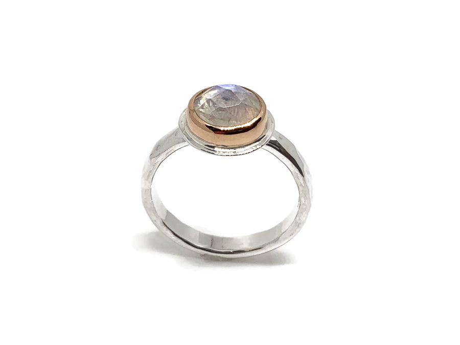 Moonstone Ring Rose Gold and Silver Size 7-1/4