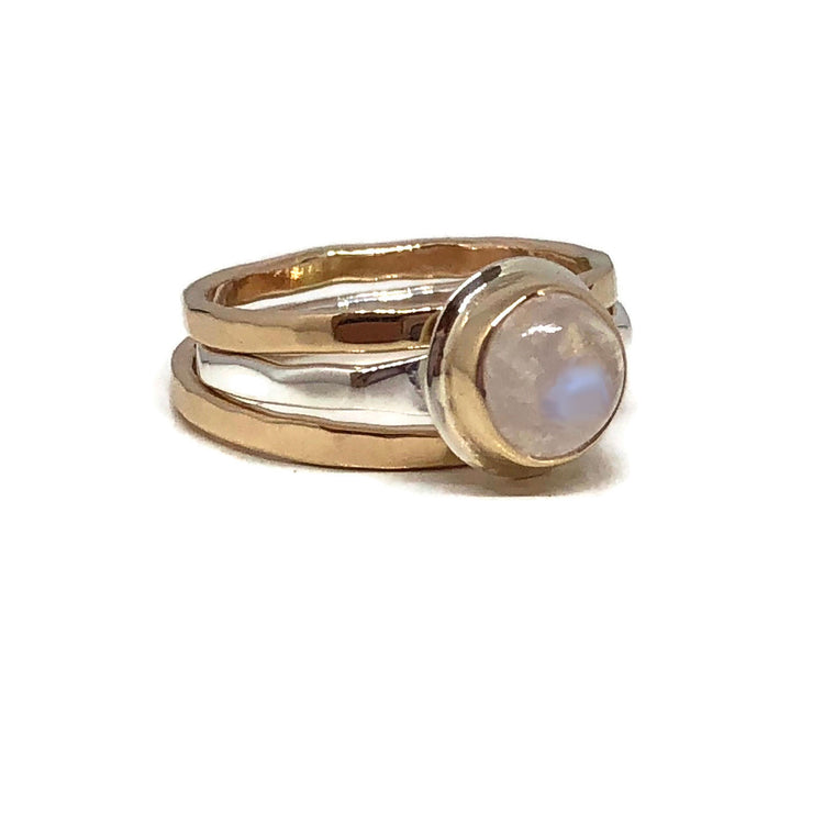 Round Moonstone Solitaire Ring/ Moonstone Stack Ring