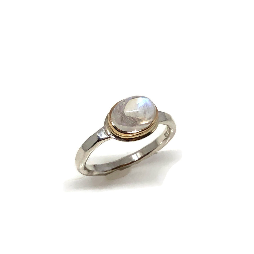 Moonstone Solitaire Ring/ Moonstone Stack Ring Silver/ 14kt Gold