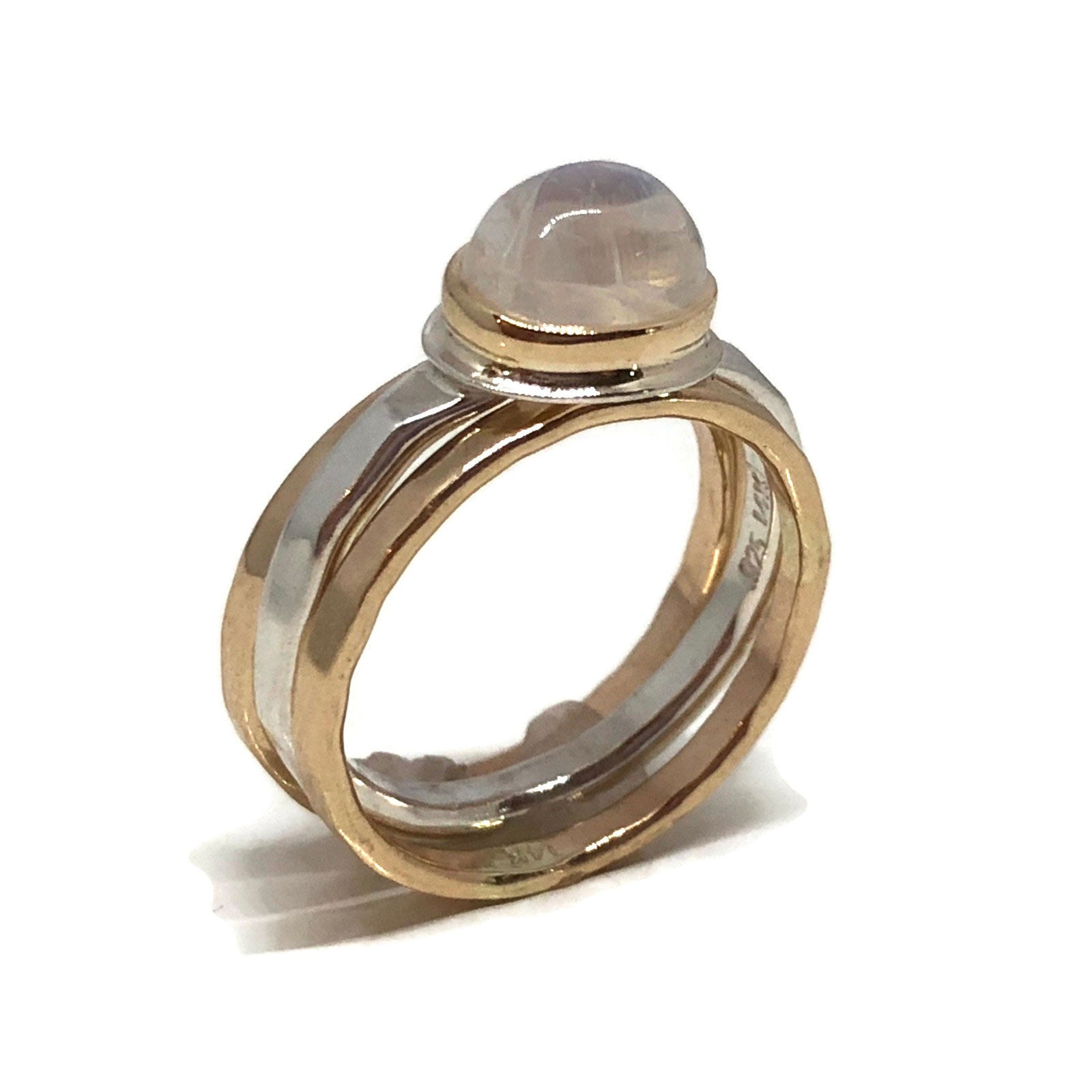 9e8cf36b8a7931 Moonstone Solitaire Ring/ Moonstone Stack Ring Silver/ 14kt Gold ...