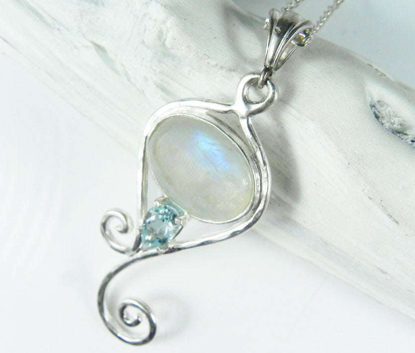 Moonstone Drop Swirl Mermaid's Tail Pendant with Blue Topaz