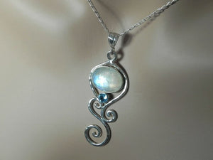 Moonstone Pendant Multi Swirl with Blue Topaz