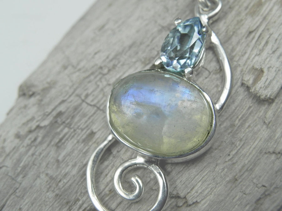 Moonstone Oval Pendant with Pear Blue Topaz