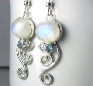 Rainbow Moonstone Blue Topaz Silver Swirl Earrings