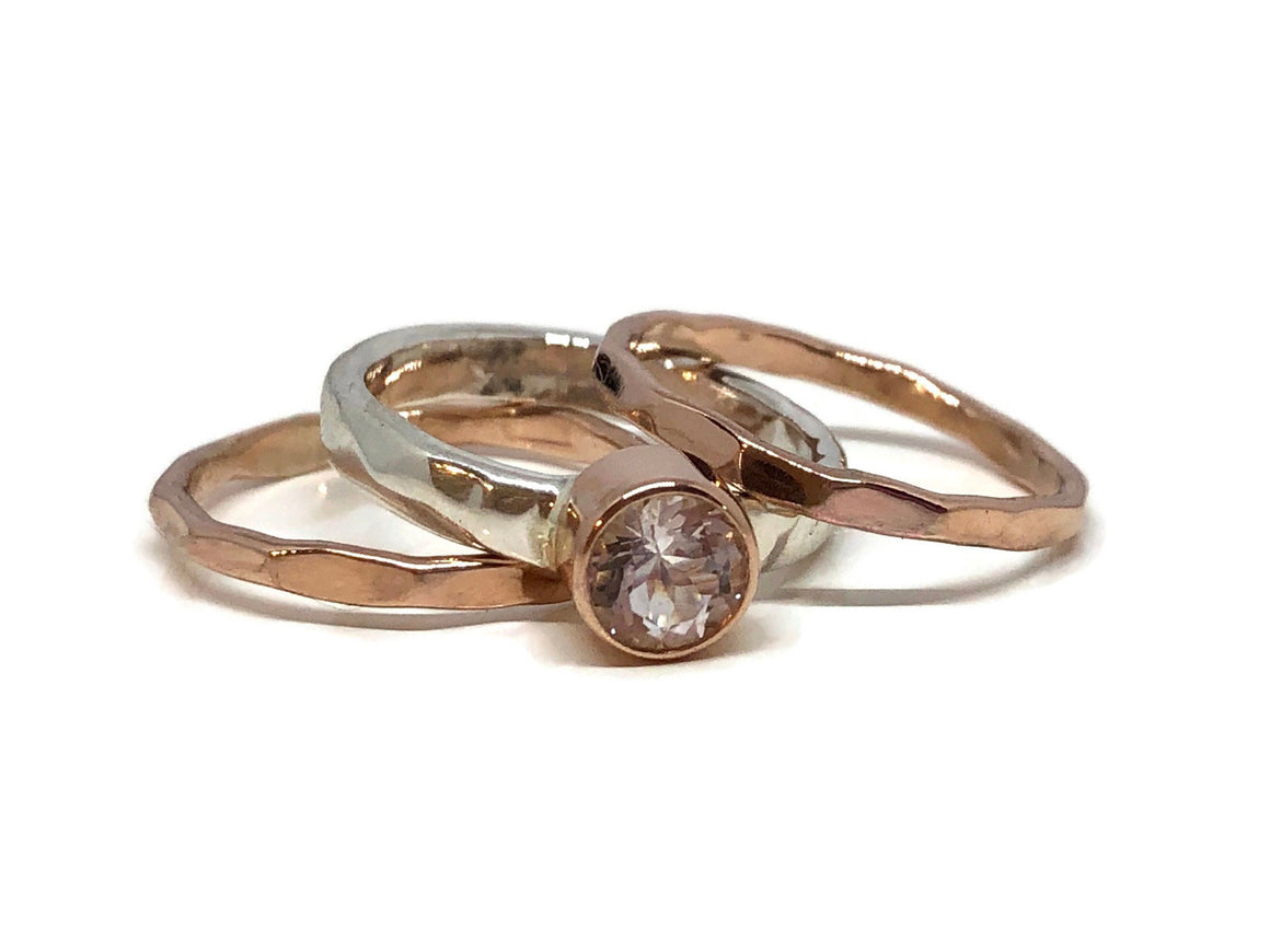 Morganite Rose Gold Ring Silver Stack Set Size 6-1/2
