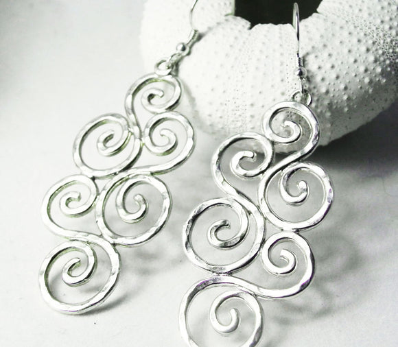 Large Multi Swirl Hammered Silver Earrings
