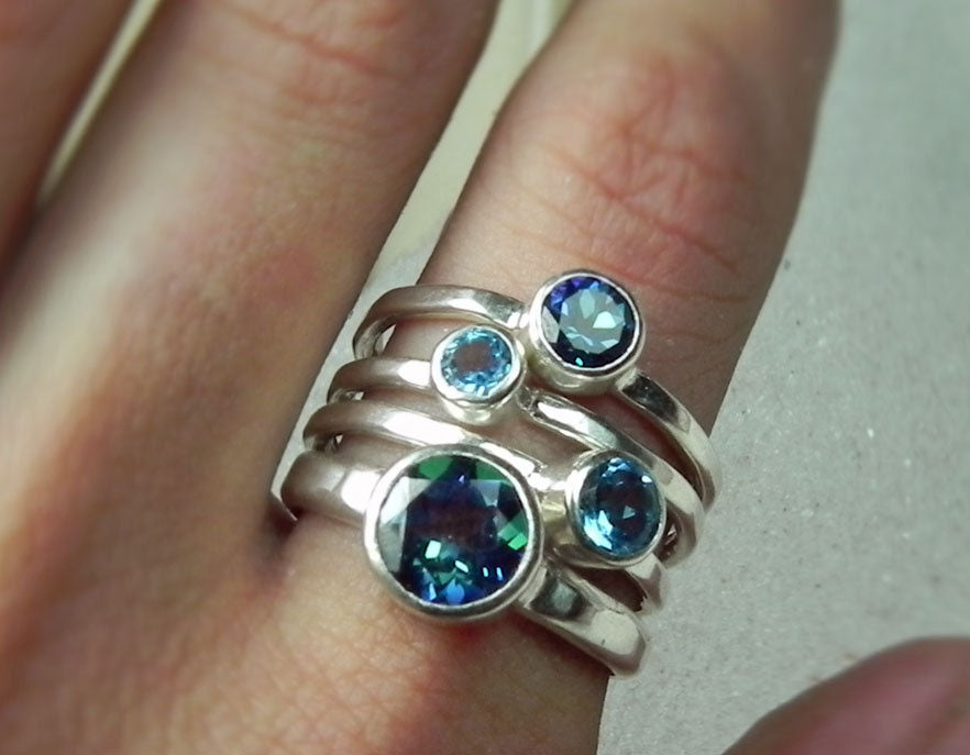 Blue and Mystic Topaz Sterling Silver Stack Ring Set