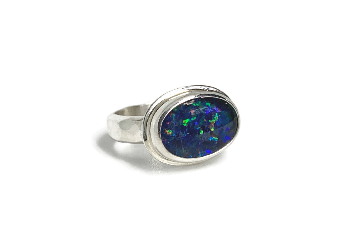 Black Opal Ring Silver Oval Size 7